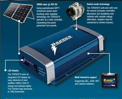 Thunder 20A Amp Dual Battery Isolator System Kit Dc To Dc Charger Mppt Solar Agm