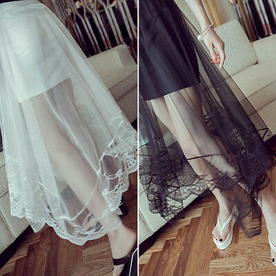 Women Gauze See Through Mesh Tulle Lace Floral Gothic Long Maxi Skirt Dress AU