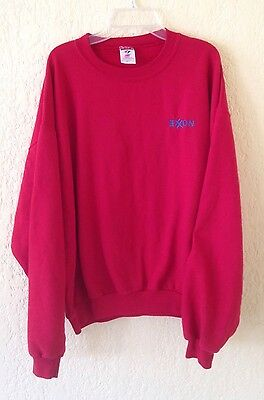 EC! VINTAGE EXXON Gas And Oil Mens Embroidered Sweatshirt Size Large