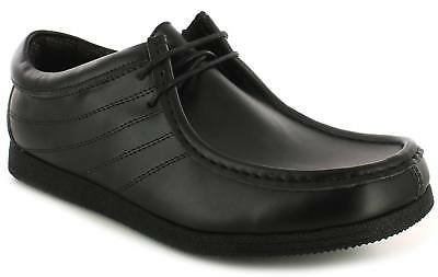 New Mens/Gents Black Leather Coated Lace Up Moccasin Shoeswider Fit UK Size