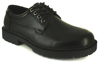 New Mens/Gents Black Lace Up School Shoes With Thick Soles. Wide Fit. UK Size