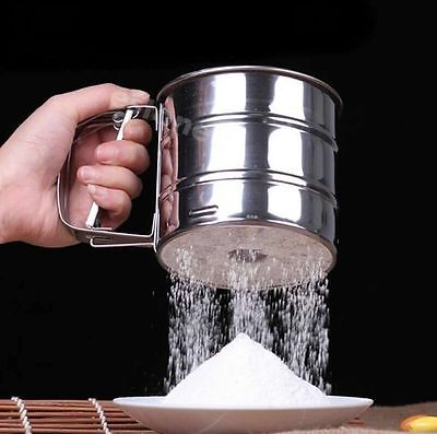 Stainless Mechanical Flour Sugar Icing Mesh Sifter Shaker Baking Kitchen Tool