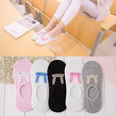 5 Pairs Damen Cartoon Kaninchen Invisible No Show Low Cut Ankle Socks