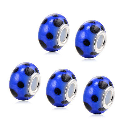 5PCS Blue Charm Hole Beads DIY Jewelry Long Dangle Free Shipping Wholesale Lots