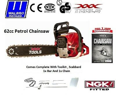 "NEW XXX TOOLS 2017 62cc Petrol Chainsaw 24"" Bar 1 x Chain Easy Start Walbro Carb"