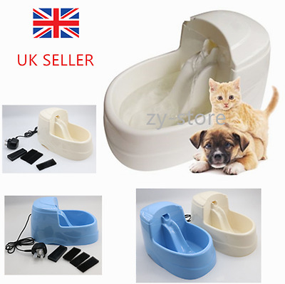 Uk Sell Cat Dog Kitten Water Drinking Fountain Pet Bowl Drink Pump Filter Fresh
