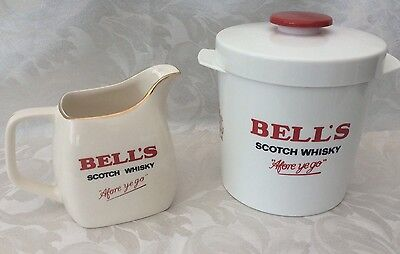 VINTAGE BELLS SCOTCH WHISKY WATER JUG WADE & ICE BUCKET SET Home Bar Man Cave