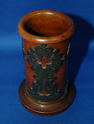 An unusual gothic style walnut wooden desk spill holder, pot with brass overlay