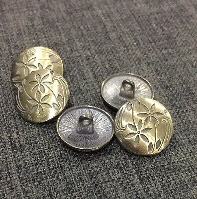 5 X 17mm Bronzed Patterned Metal Shank Buttons- Australian Supplier