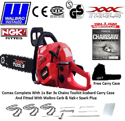 """62cc Petrol Chainsaw, Assisted Start, WALBRO CARB + NGKr, 22"""" Blade, 3 x Chains"""