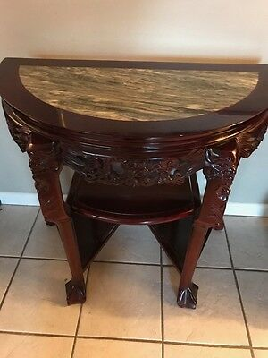 Rosewood & Marble Half Moon Table -Antique Circa 1950 China