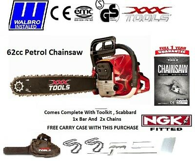 "NEW 2017 62cc Petrol Chainsaw 16"" Bar 2 X 16"" Chains WALBRO CARB NGK-R"