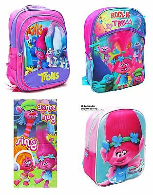 New Beach Towel / Backpack Trolls School Bag Kids Preschool Children Girls Toys