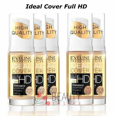 Eveline Ideal Cover Full HD 16h SPF10 Mattifying Foundation 30ml