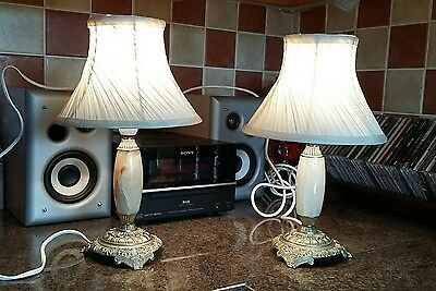 A Pair of Antique/vintage Brass & Marble/Onyx Table Lamps. Full working order.