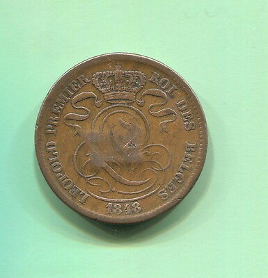 Belgium - Historical Overstruck Countermarked Leopold I 10 Centimes, 1848/38
