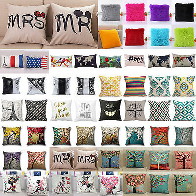 Vintage Cushion Cover Cotton Linen Decorative Throw Pillow Case Sofa Home Decor