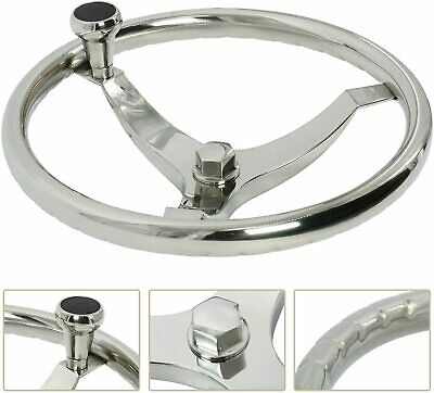 "Boat Stainless Steering Wheel 3 Spokes 13-1/2"" Dia With Knob and 1/2""-20 Nut"