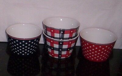 222 Fifth  Fruit Snack Dessert Party Bowls S/4 NEW Red White Blue