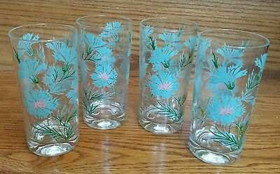 Set Of 4 Vintage Taylor Smith Taylor Boutonniere Retro Iced Tea Tumbler Glasses