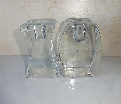 Blenko Glass Candle Holders Clear Glass Ice Cube Block Taper Candle Holders Pair