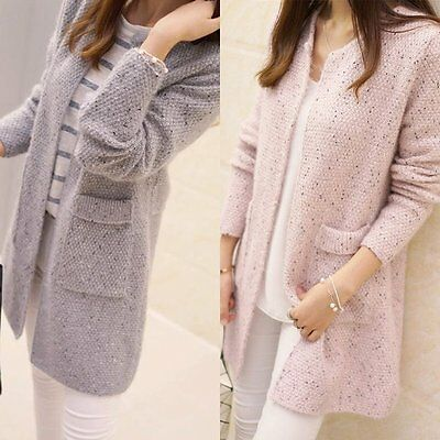 Women Long Sleeve Knitted Cardigan Loose Sweater Top Outwear Coat Casual Sweater