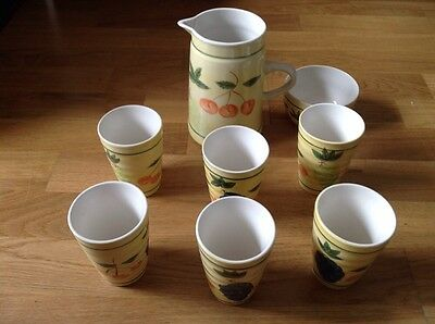 Decorato A Mano ( Italy ) 6 Beakers, 1 Pitcher, 1 Bowl Handpainted Fruit Pattern