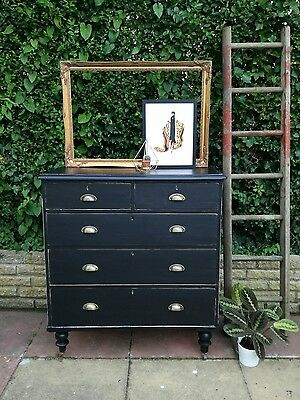 large vintage Victorian pine chest of drawers