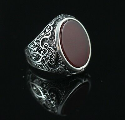 925 Sterling Silver Handmade Antique Turkish Agate Men's Ring Size 9-13