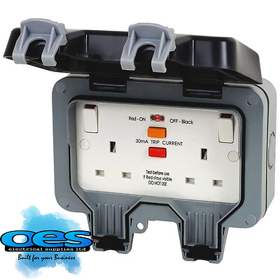 BG Twin 13 Amp DP Switched RCD Double Socket Outdoor Weatherproof IP66 WP22RCD