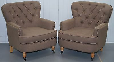 Pair Of Contemporary Chesterfield Buttoned Club Armchairs With Wooded Legs