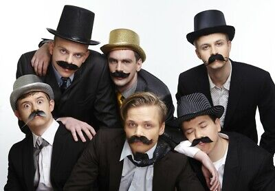 High quality fake, self adhesive mustaches, value pack (6pcs.)