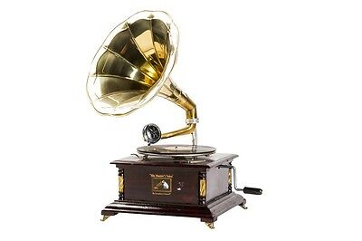 Gramophone with horn HIS MASTER VOICE wood and brass WORKING SQUARE