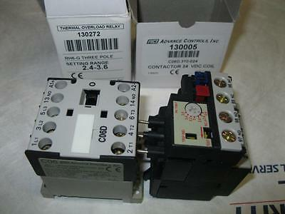 Advance Controls Inc. C06D Contactor 3 pole 24 VDC and RH6-G Thermal Overload