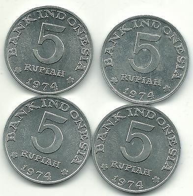 High Grade Au Or Unc Lot Of 4 1974 Indonesia 5 Rupiah Coins-Jul306