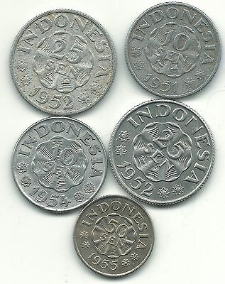 Lot 5 1951-1955 Range Indonesia 10-50 Range Sen Coins-Jul408
