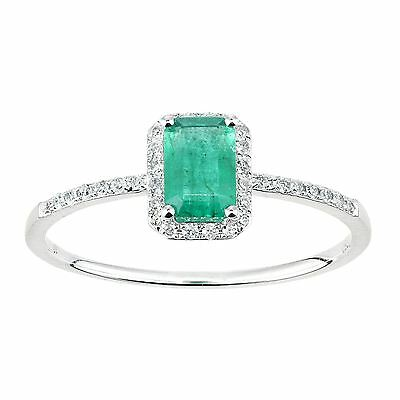 Revoni Real Green Emerald & Diamond Ring Solid 18ct White Gold