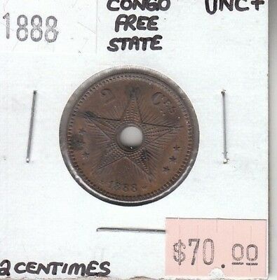 Congo Free State 2 Centimes 1888 UNC Uncirculated