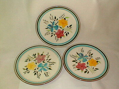 """Stangle pottery 3 country garden dinner plates 10"""" VG (lot2)"""