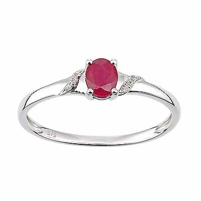 Revoni Real Red Ruby & Diamond Ring Solid 9ct White Gold