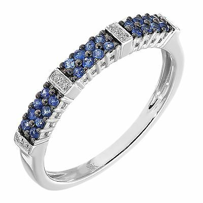 Revoni Real Blue Sapphire & Diamond Eternity Ring Solid 9ct White Gold
