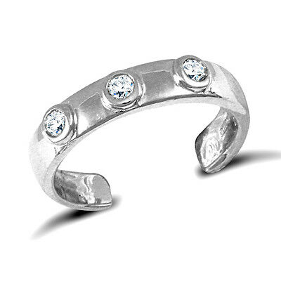 9ct Solid White Gold Toe Ring Set With Cubic Zirconias Adjustable