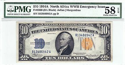 1934A $10 North Africa Silver Certificate PMG 58 EPQ Choice About Unc AU