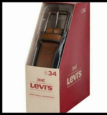 NEW LEVI'S Men's, Casual Leather Belt, Brown, 32, 34, 36, 38, 40, 42, 44 VARIETY