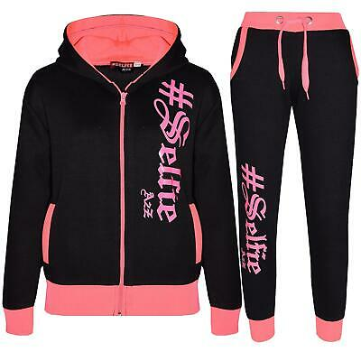 Kids Jogging Suit Boys Girls Designer's #Selfie Top Bottom Tracksuit 7-13 Years
