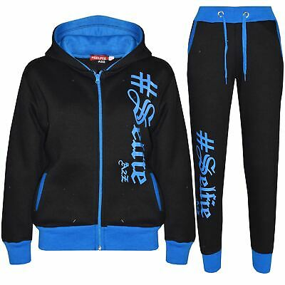 Boys Girls Jogging Suit Kids Designer's #Selfie Top Bottom Tracksuit Age 7-13 Yr