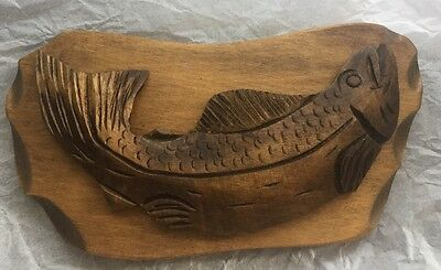 SIGNED HAND CARVED WOOD MOUNTED FISH by BERTHIER BEAUREGARD