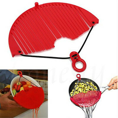 Red Large Expandable Strainer Just Lock On & Strain Better Strainer Practical