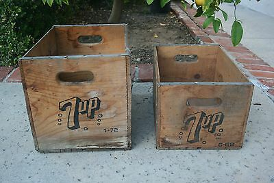 2  Vintage 7up  Wooden Crates  1-16 L x 12W x 12H,  1-16L x 11W x 9H,  No damage