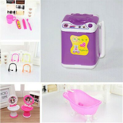 Miniature Barbie Room Bathroom Toy Dollhouse Furniture Accessories Kids Gift